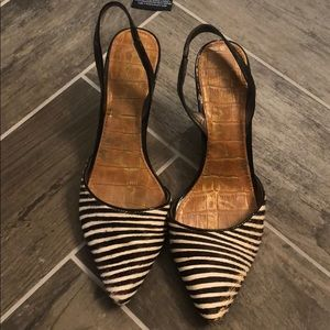 Zebra striped shoes - some wear and tear